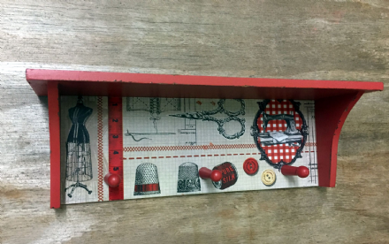 Rustic Red Wooden Storage Shelf & Hooks with Sewing Design